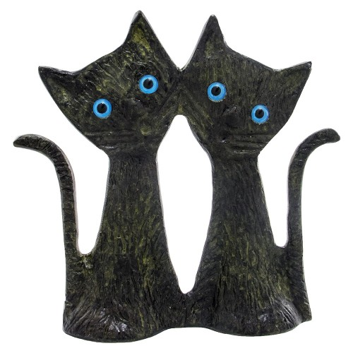 Two Bronze Cats Standing